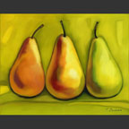 3 pears on green