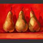 3 pears on red